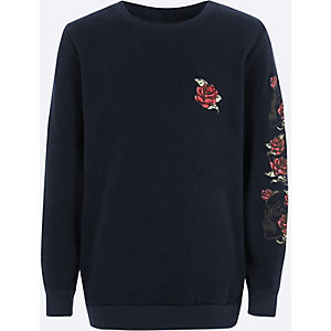 Boys navy rose print crew neck sweatshirt