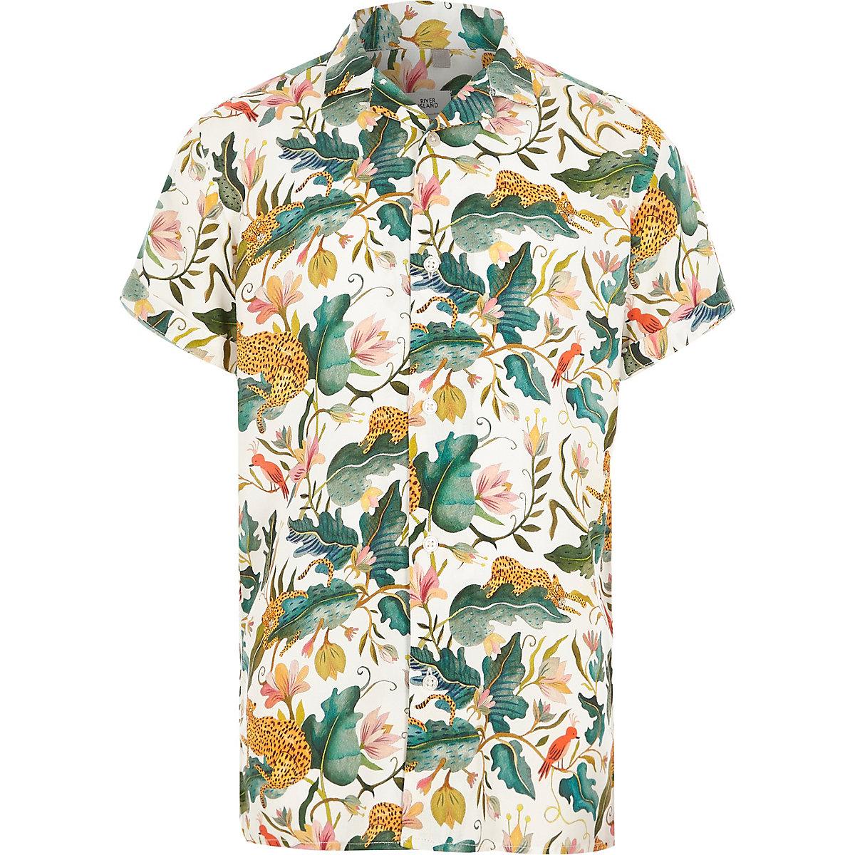 Boys cream leaf short sleeve revere shirt