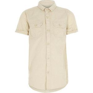 Kiezelkleurig utility-overhemd met korte mouwen voor jongens