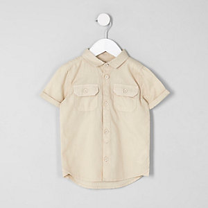 Mini boys stone short sleeve utility shirt