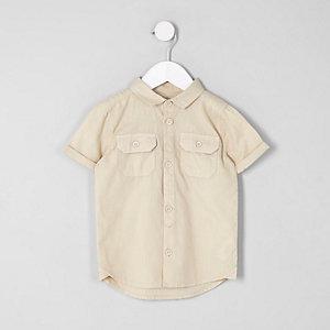 Mini - Kiezelkleurig utility-overhemd met korte mouwen voor jongens