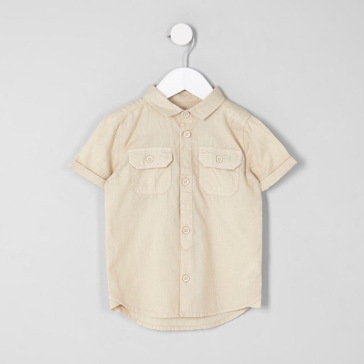 Mini boys stone short sleeve utility shirt