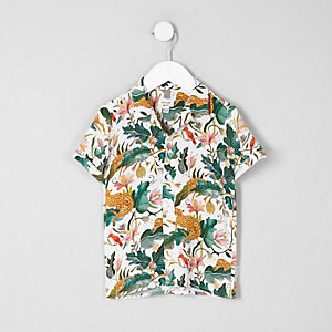 Mini boys cream leaf short sleeve shirt