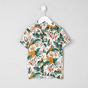 Mini - Crème jungle overhemd met korte mouwen voor jongens