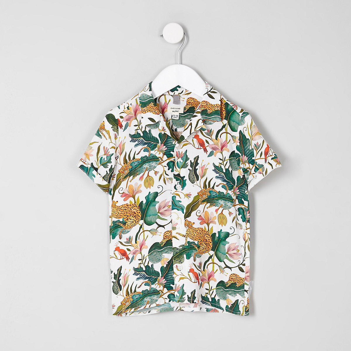 Chemise motif feuilles crème à manches courtes mini garçon