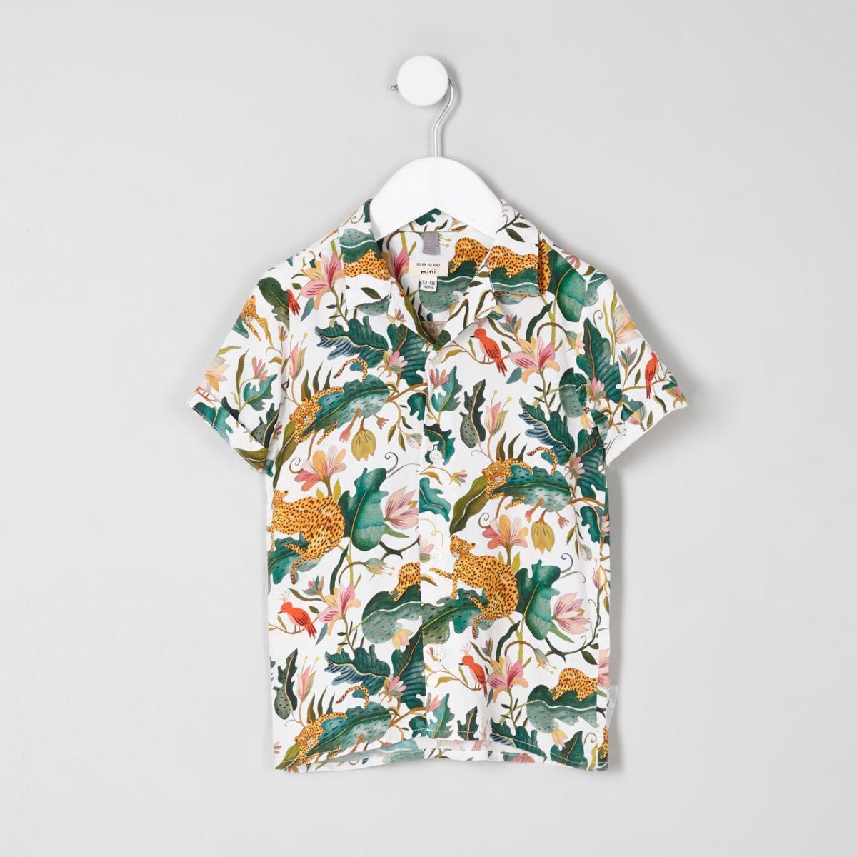 Mini boys cream leaf short sleeve shirt