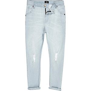 Tony - Lichtblauwe ruimvallende smaltoelopende jeans voor jongens