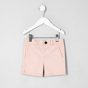Mini boys pink chino shorts