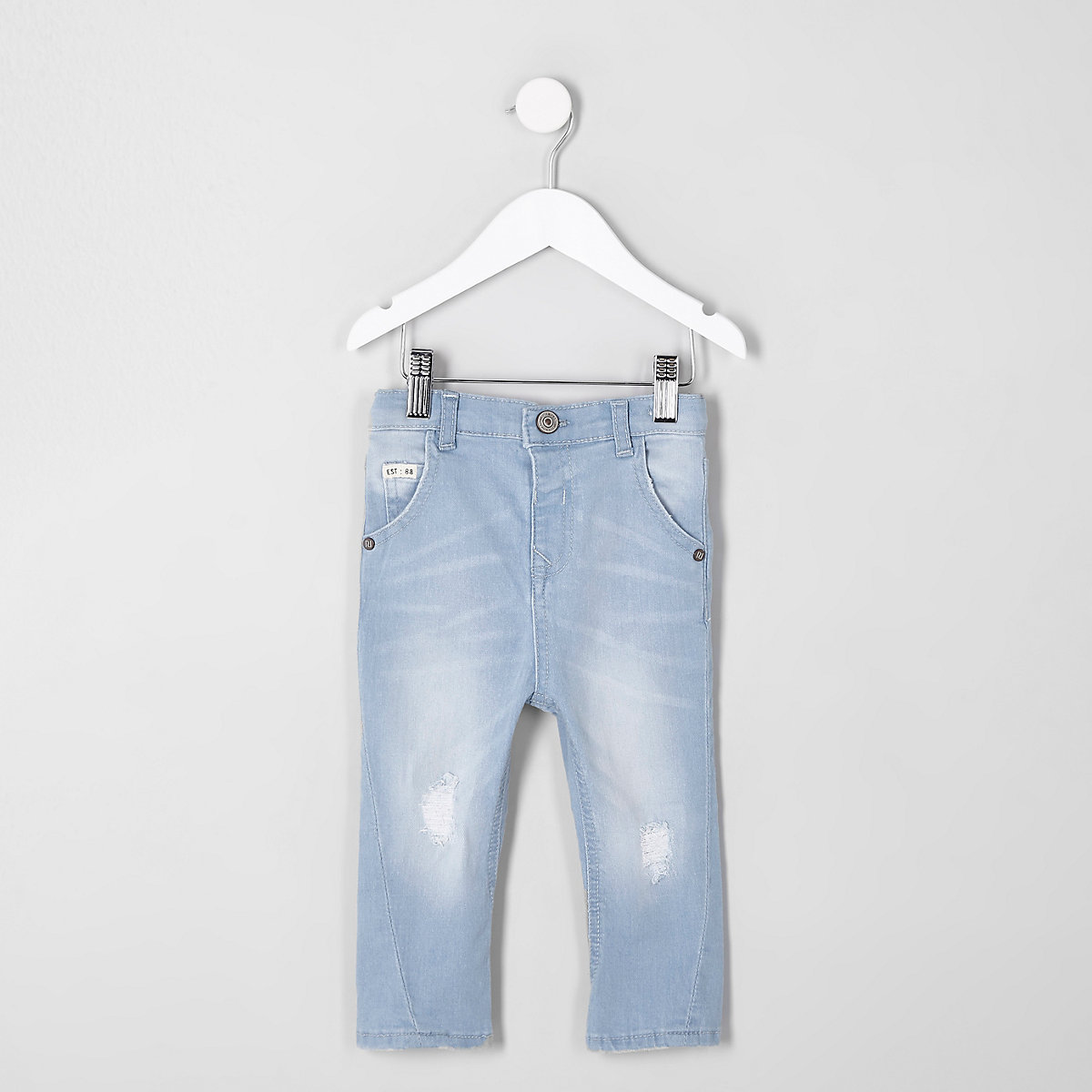 Mini boys light blue Tony ripped tapered jean