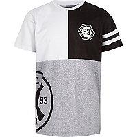 Boys grey mesh color block T-shirt