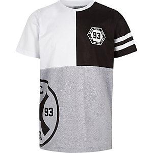 Graues T-Shirt mit Blockfarben-Design und Mesh-Einsatz