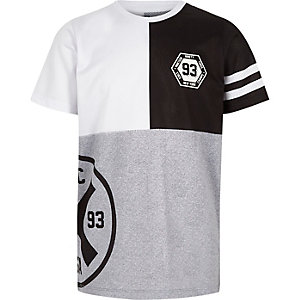 Boys grey mesh colour block T-shirt