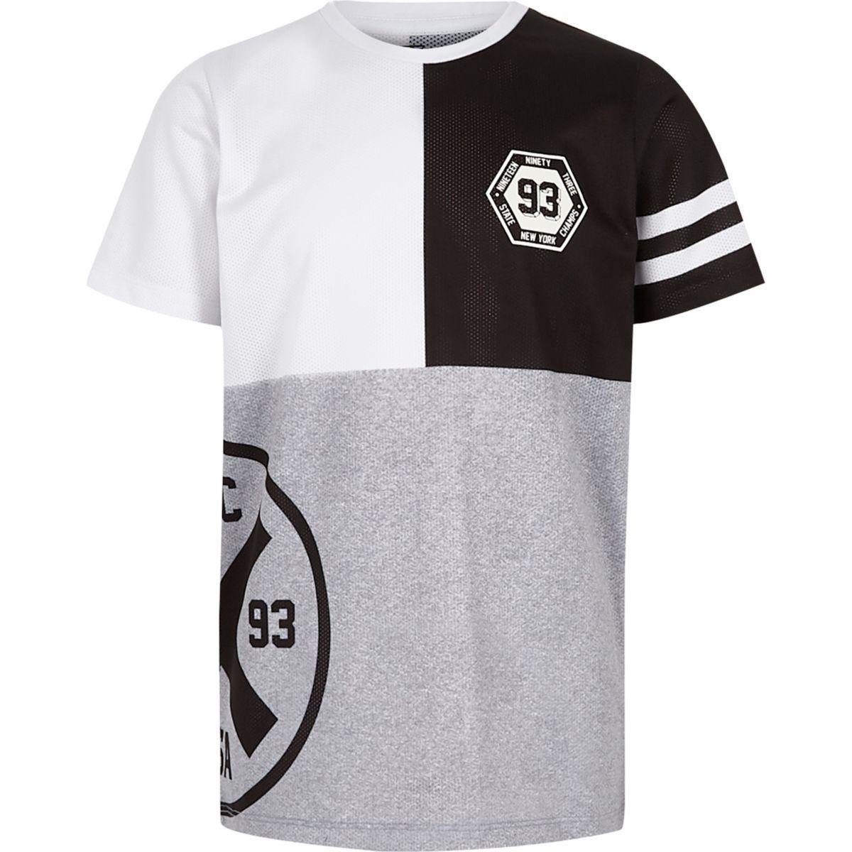 T-shirt en tulle rayé gris style colour block