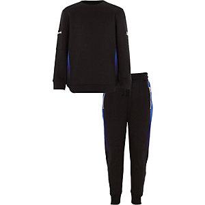 Outfit met zwart sweatshirt met ombre panelen voor jongens