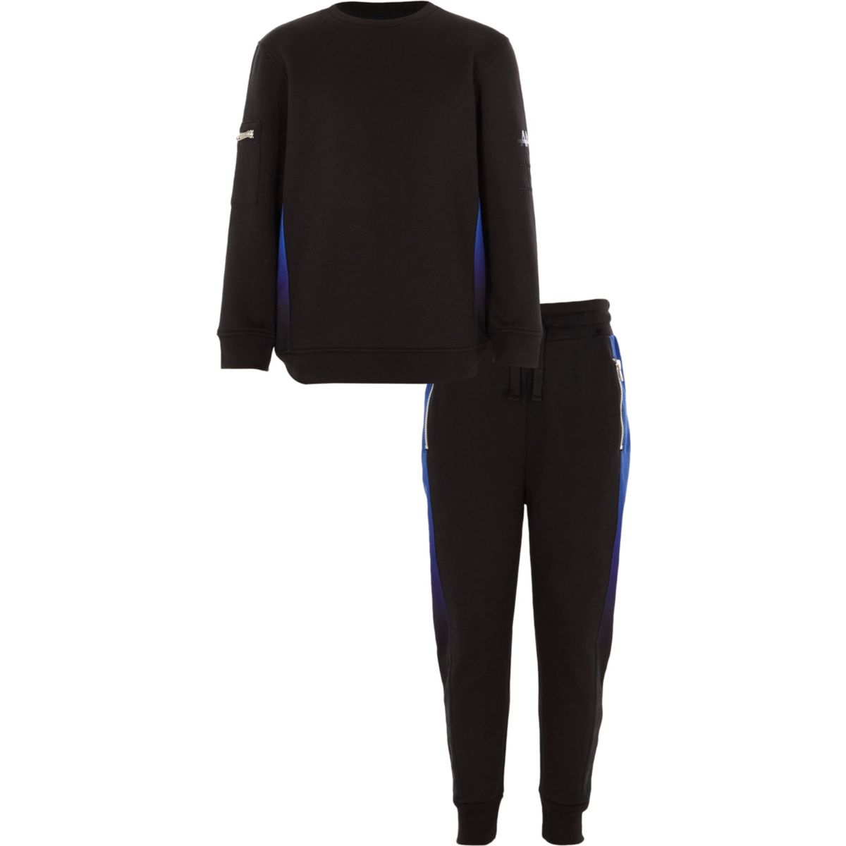 Boys black ombre panels sweatshirt outfit