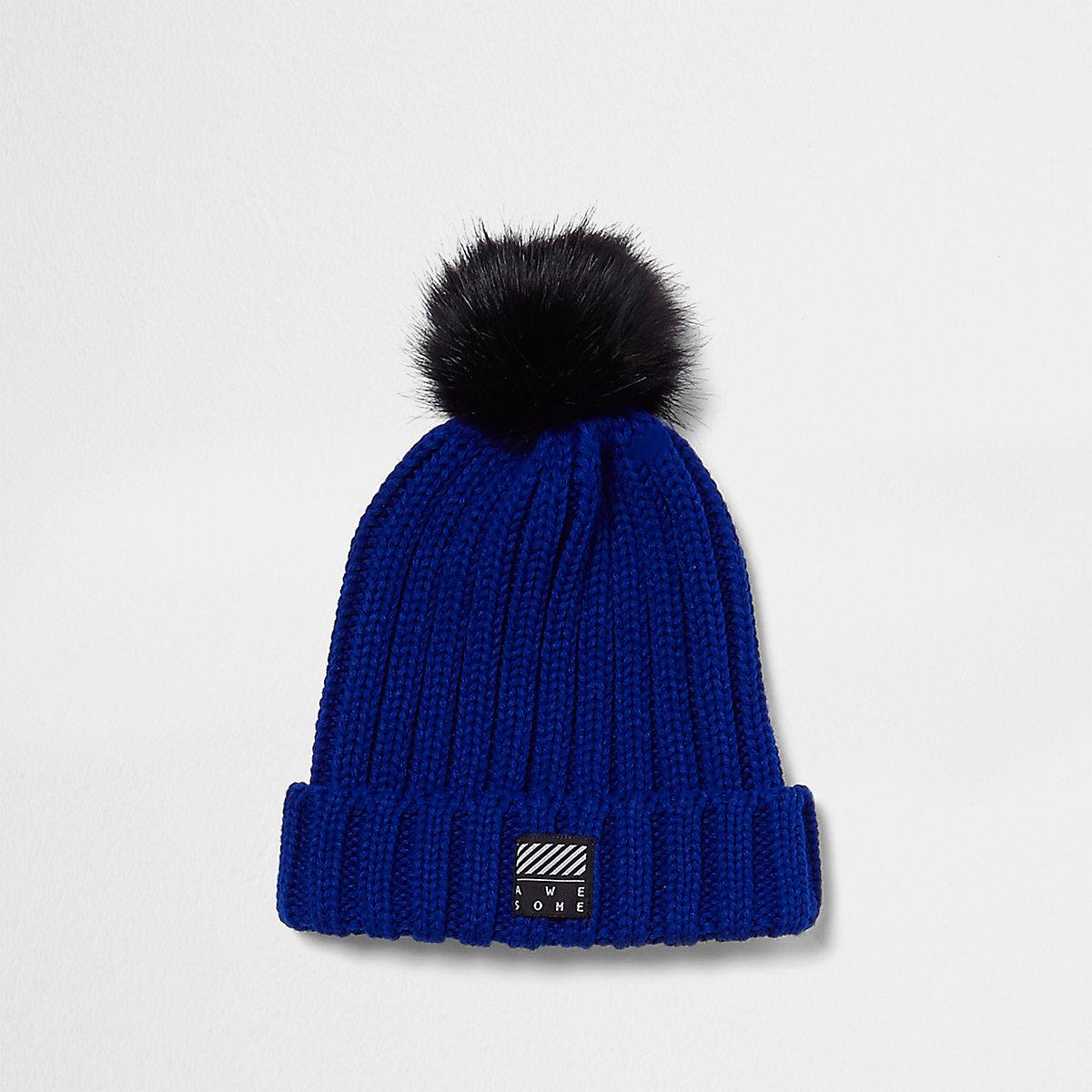 Boys blue faux fur bobble beanie hat