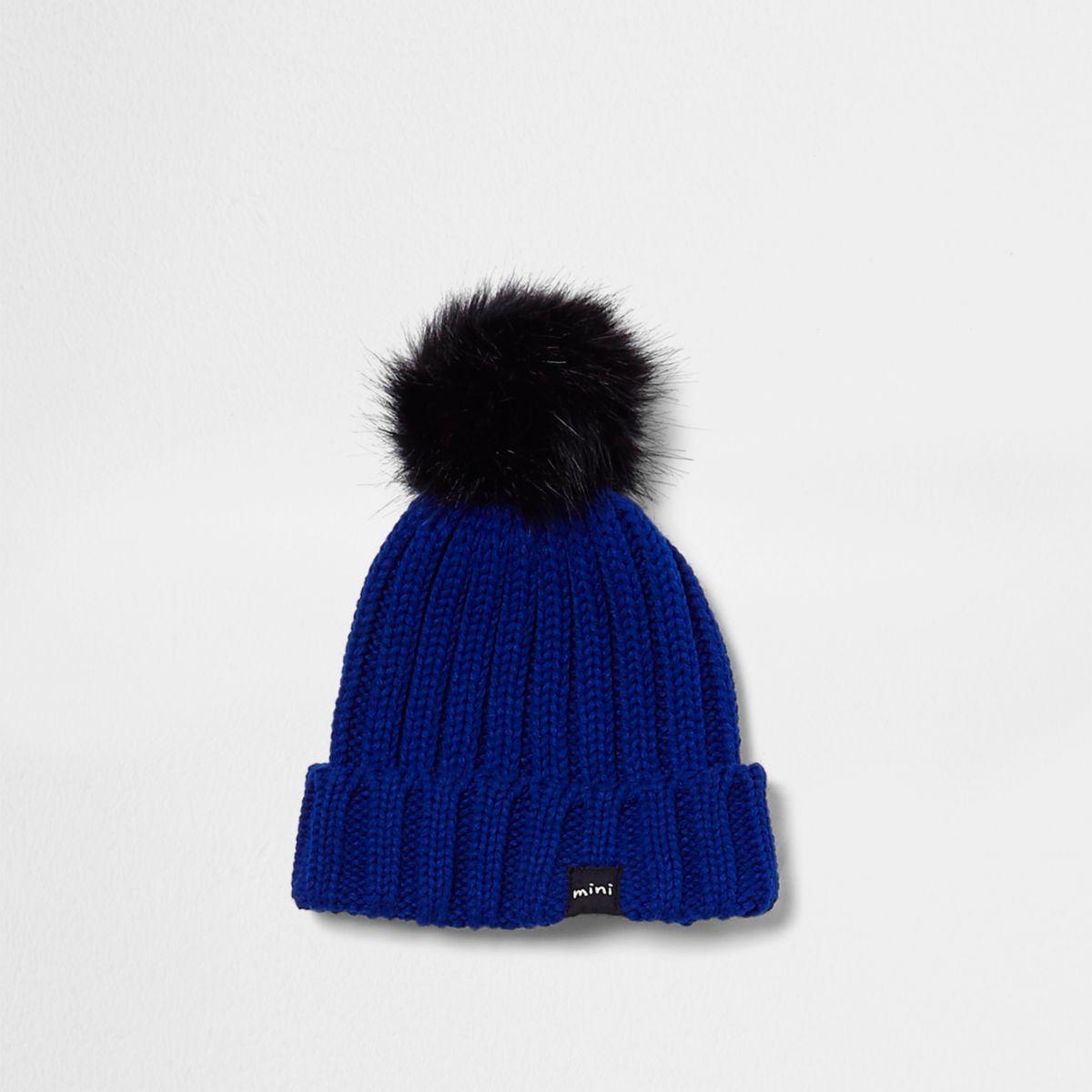 Mini boys blue faux fur bobble beanie hat