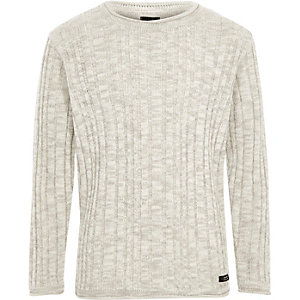 Boys grey rib rolled crew neck sweater