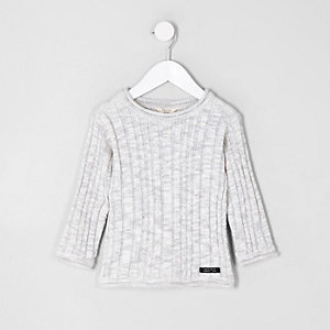 Mini boys light grey rib knit jumper