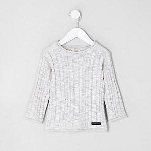 Mini boys light grey rib knit sweater