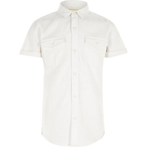 Boys white linen short sleeve shirt