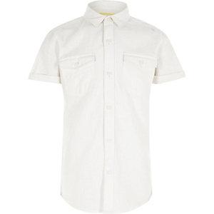 Wit linnen overhemd met korte mouwen voor jongens