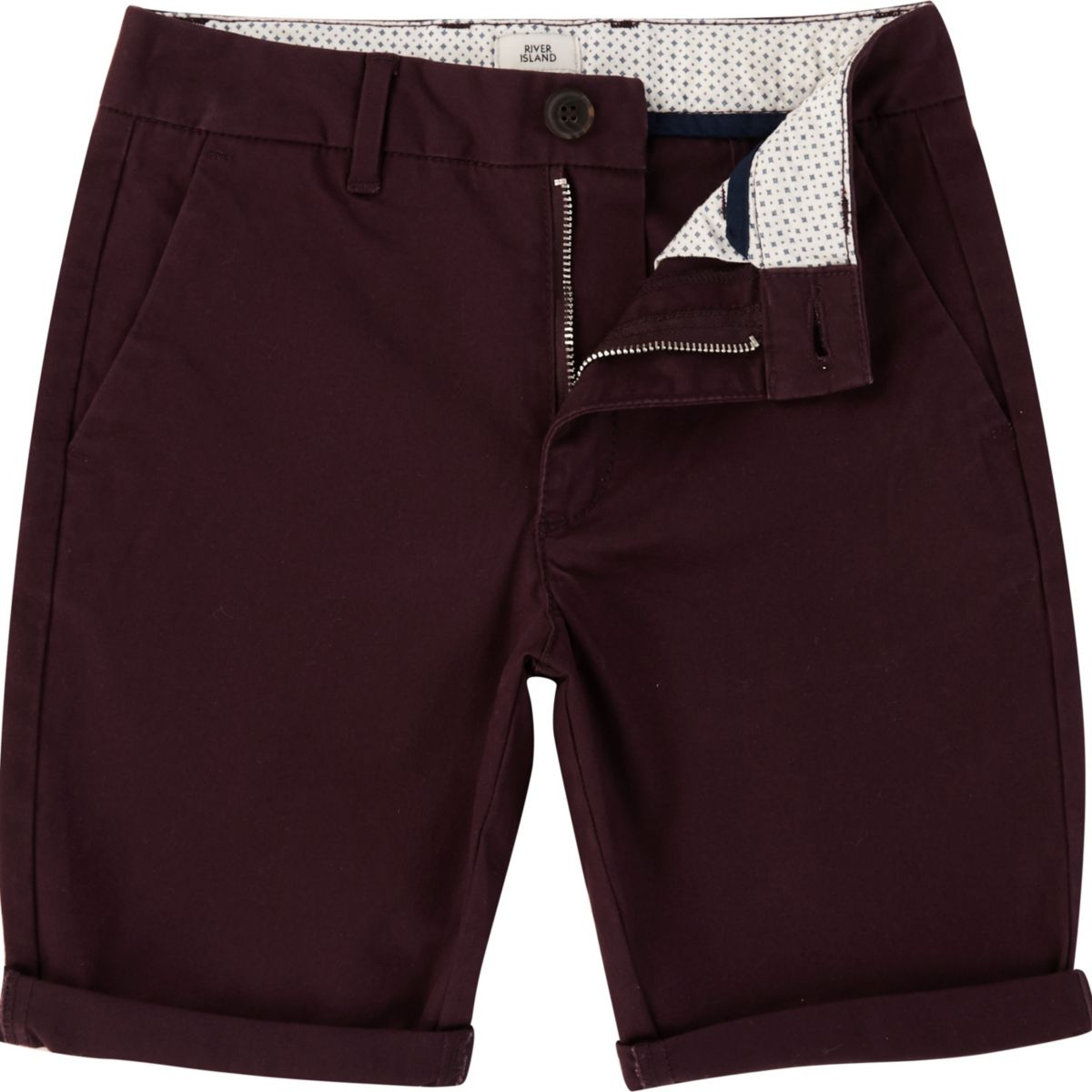 Boys purple chino shorts