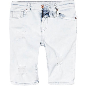 Boys light blue ripped denim shorts