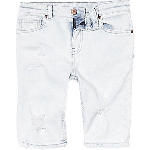 Lichtblauwe ripped denim short voor jongens