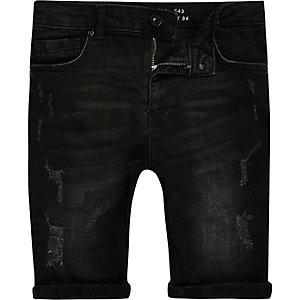 Sid – Short en jean noir déchiré pour garçon