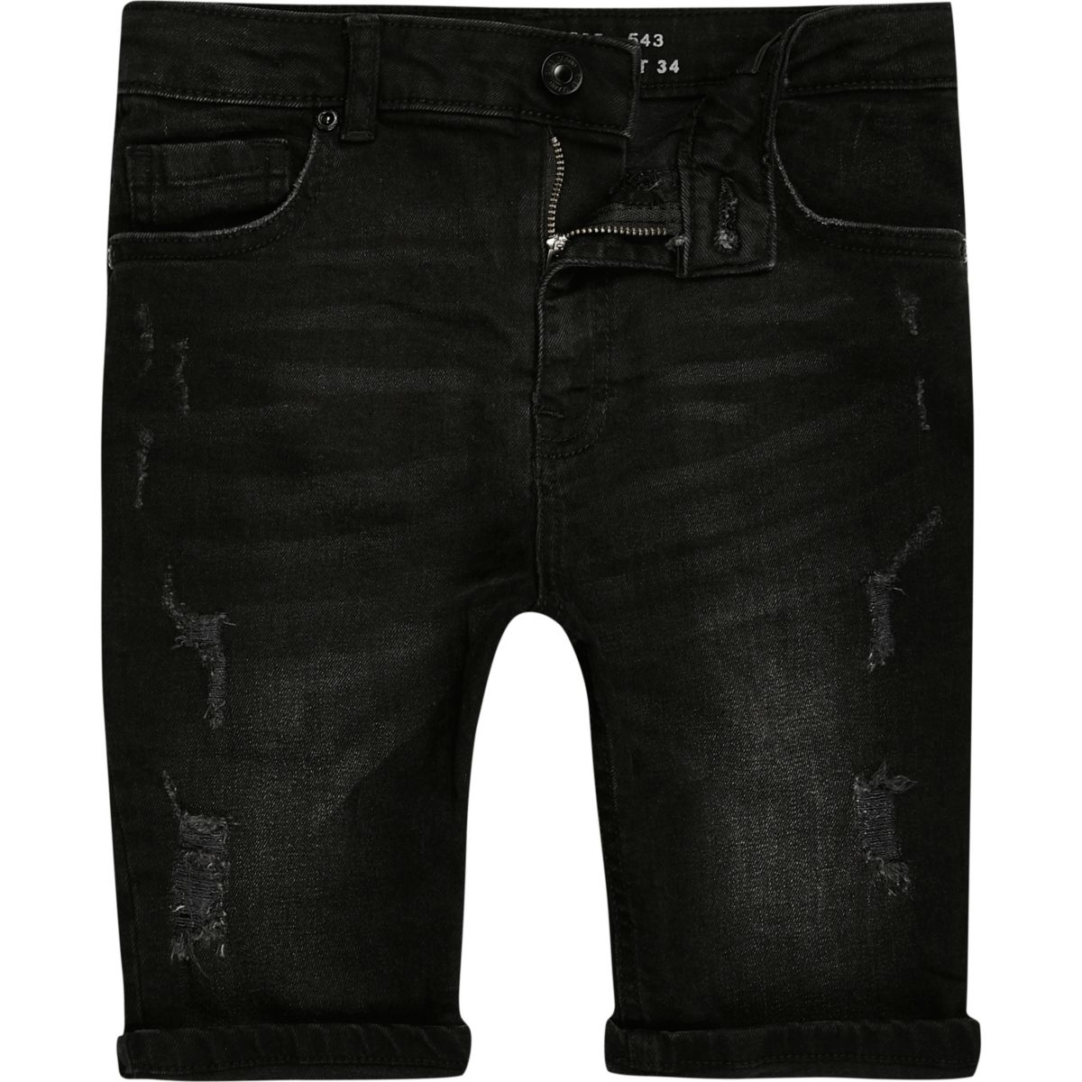 Boys black Sid ripped denim shorts