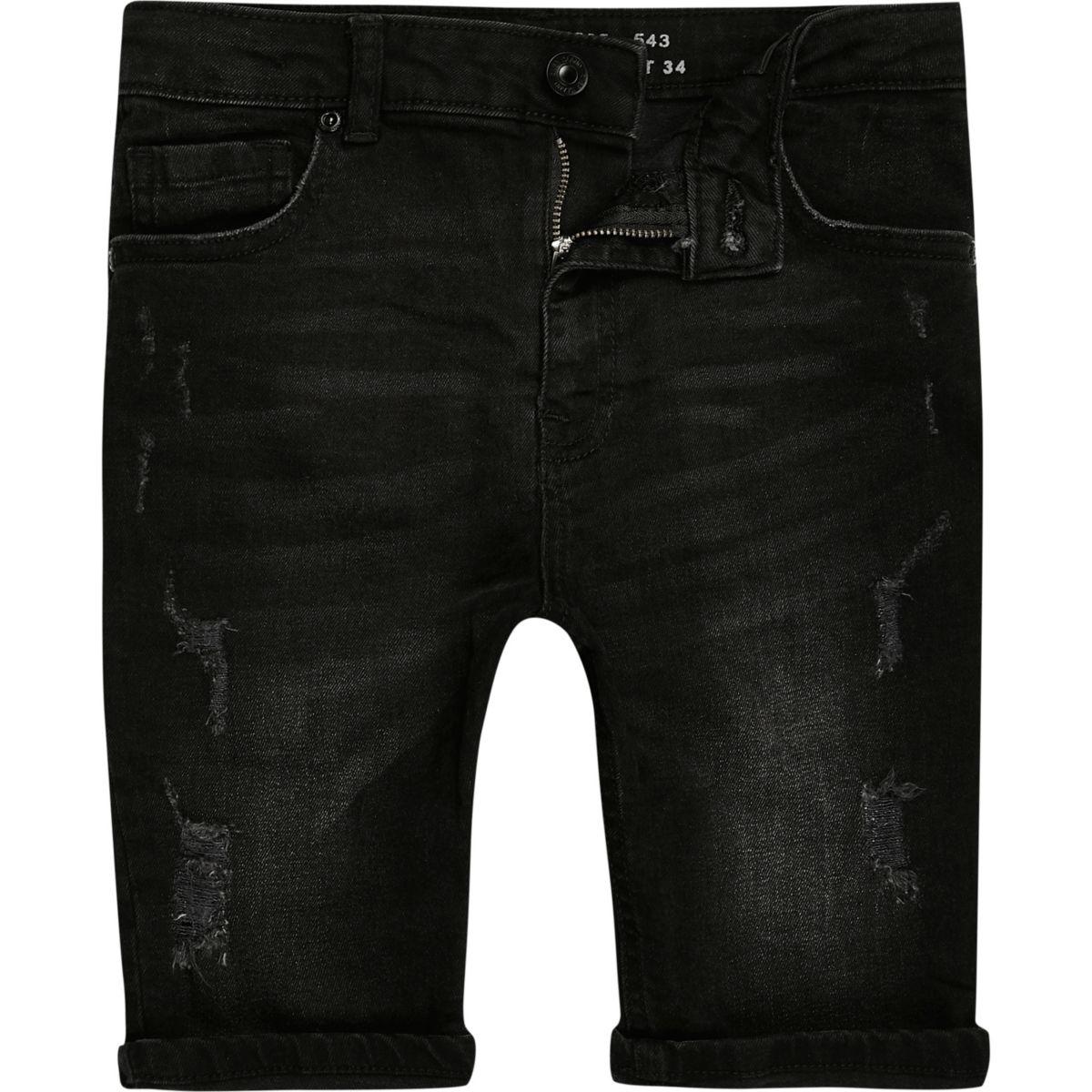Boys black Sid ripped denim shorts
