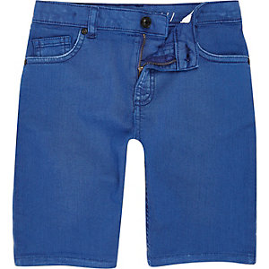 Dylan - Felblauwe slim-fit denim short voor jongens