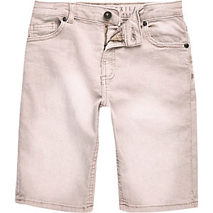 Boys pink denim Dylan slim fit shorts