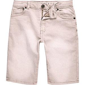 Dylan - Roze denim slim-fit short voor jongens