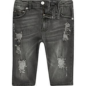 Sid - Zwarte skinny ripped denim short voor jongens