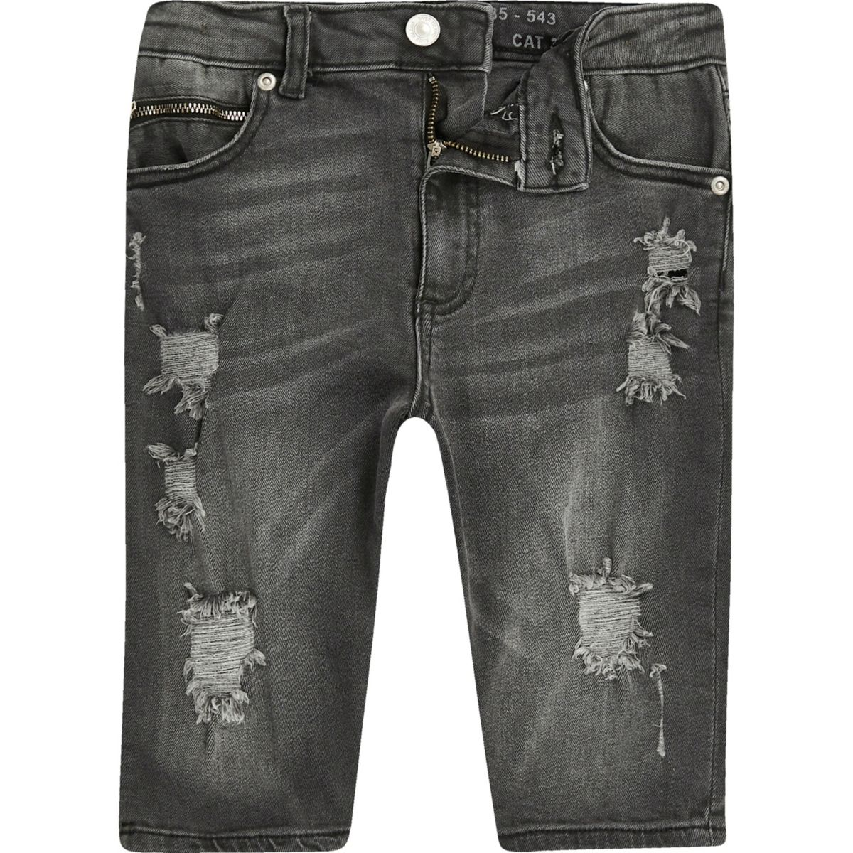 Boys black Sid skinny ripped denim shorts