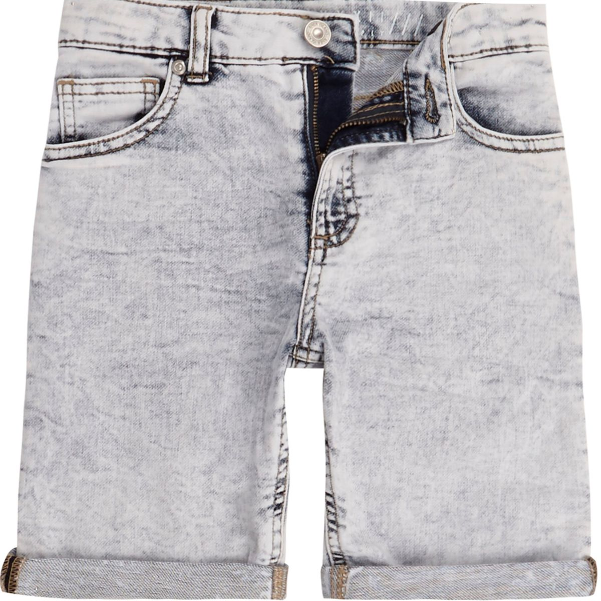 Boys blue Dylan knitted look denim shorts