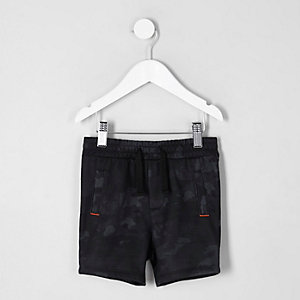 Mini boys navy camo jersey shorts