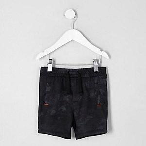 Mini - Marineblauwe jersey short met camouflageprint voor jongens