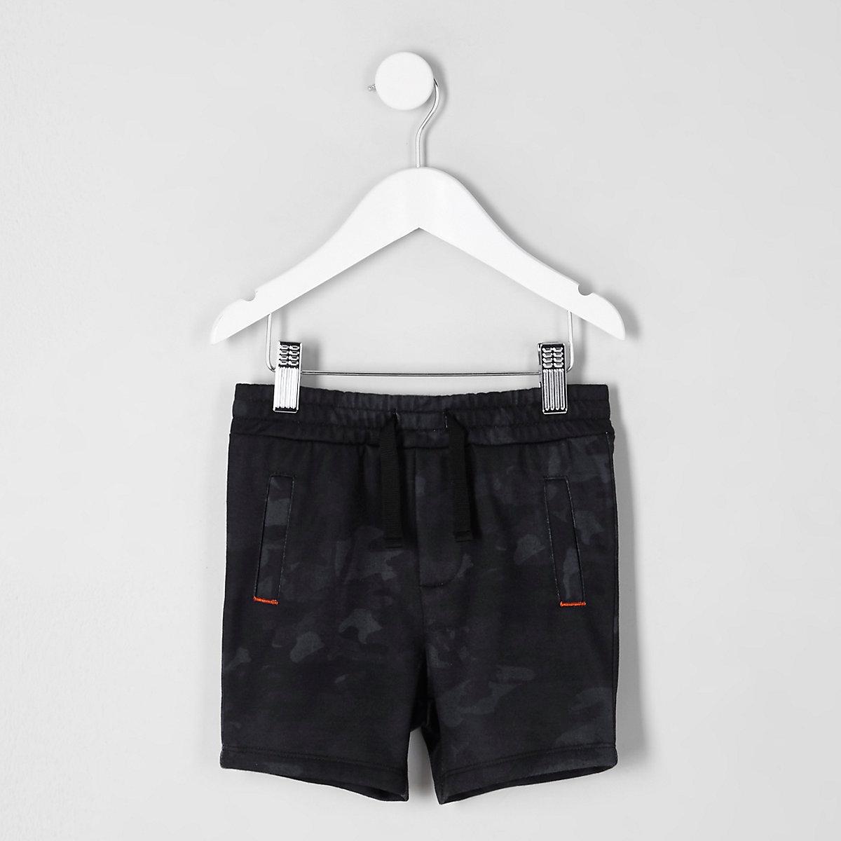 Mini boys navy camo jersey shorts
