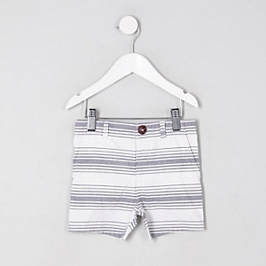 Short chino rayé blanc pour mini garçon