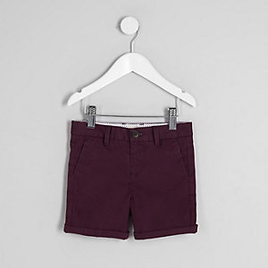 Mini boys purple chino shorts
