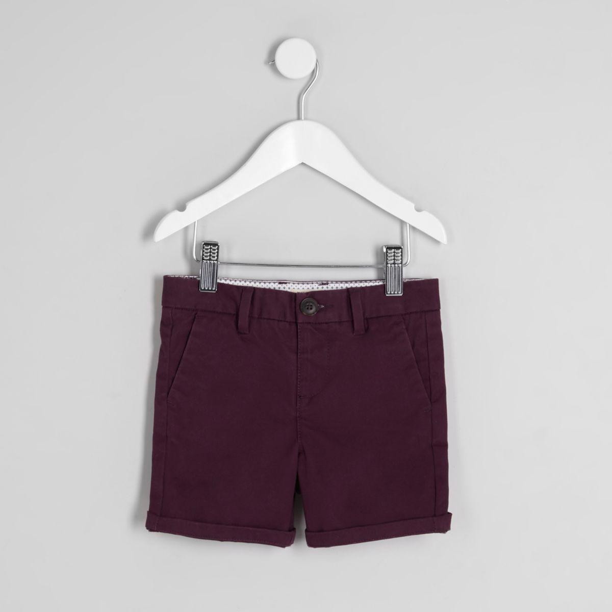 Mini boys purple chino shorts