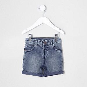 Mini boys dusty blue denim shorts