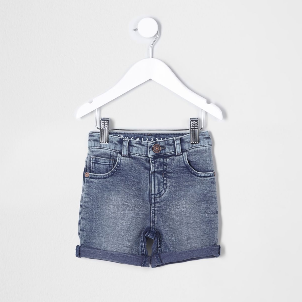Mini boys dusty blue denim shorts
