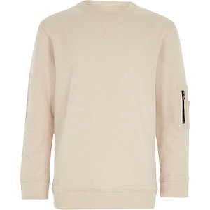 Boys cream zip pocket sleeve sweatshirt