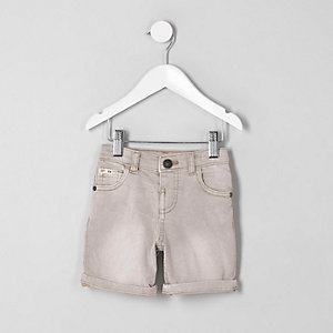 Mini - Dylan - Roze denim short voor jongens