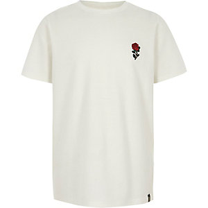 Boys white textured rose print T-shirt