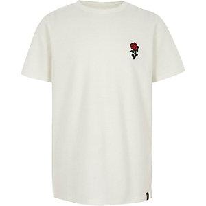 Wit T-shirt met textuur en rozenprint voor jongens